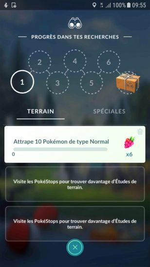 screenshot Pokemon Go quêtes journalières et quêtes spéciales