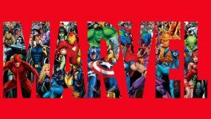 Logo Marvel avec perosnnages